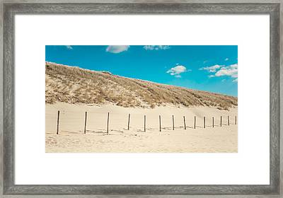 In A Line. Coastal Dunes In Holland Framed Print by Jenny Rainbow