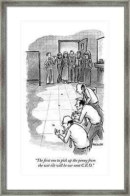 In An Office Bathroom A Businessman Holds Framed Print by Corey Pandolph