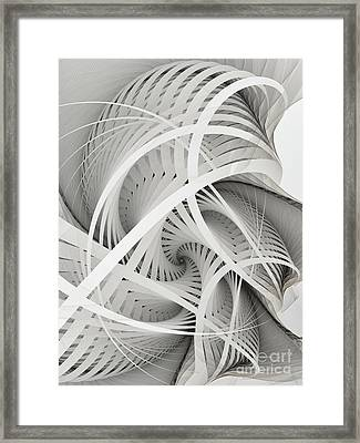 In Betweens-white Fractal Spiral Framed Print by Karin Kuhlmann
