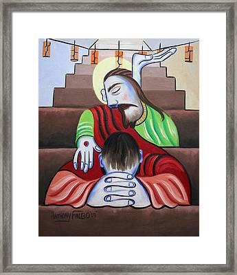 In Jesus Name Framed Print by Anthony Falbo