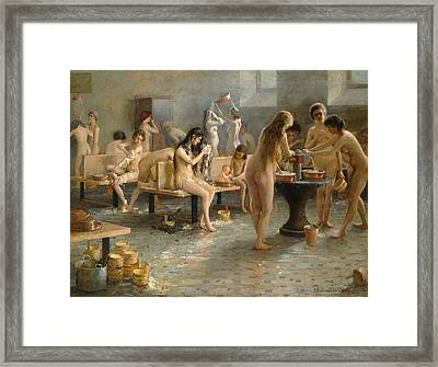 In The Bath House Framed Print by Vladimir Alexandrovich Plotnikov