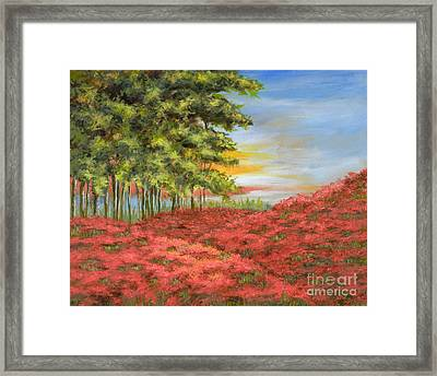 In The Field Of Poppies Framed Print by Vic  Mastis