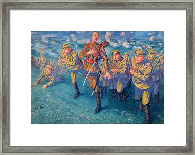 In The Firing Line Framed Print by Kuzma Sergeevich Petrov-Vodkin
