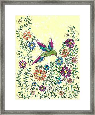 In The Garden - Hummer Framed Print by Susie WEBER