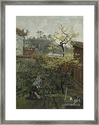 In The Garden Framed Print by Frits Thaulow