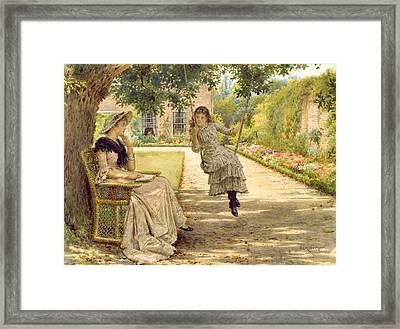 In The Garden Framed Print by George Goodwin Kilburne