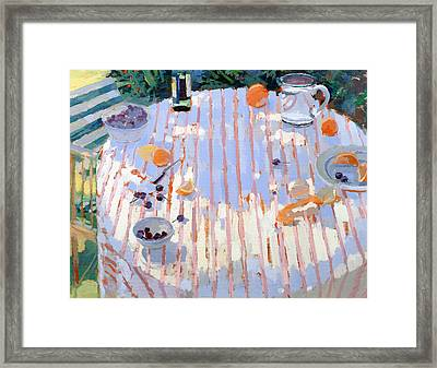 In The Garden Table With Oranges  Framed Print by Sarah Butterfield