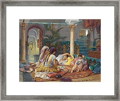 In The Harem Framed Print by Frederick Arthur Bridgman