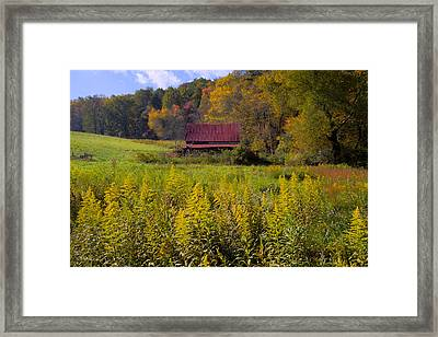 In The Heart Of Autumn Framed Print by Debra and Dave Vanderlaan