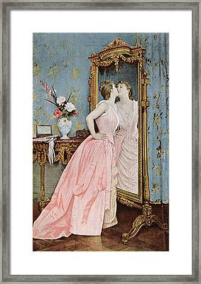 In The Mirror Framed Print by Auguste Toulmouche
