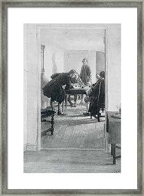 In The Old Raleigh Tavern, Illustration From At Home In Virginia By Woodrow Wilson, Pub. In Harpers Framed Print by Howard Pyle