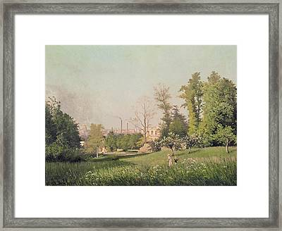In The Park At Issy-les-moulineaux, 1876 Oil On Canvas Framed Print by Prosper Galerne