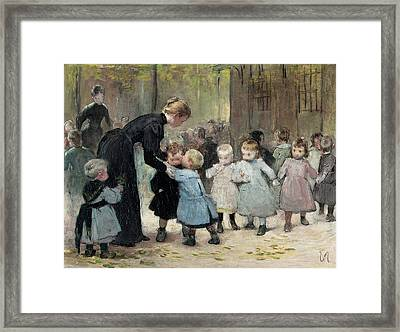 In The Playground Oil On Canvas Framed Print by Henri Jules Jean Geoffroy