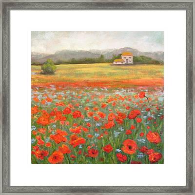 In The Poppy Field Framed Print by Robie Benve