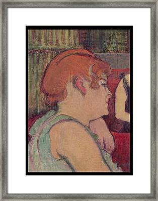 In The Salon At The Rue Des Moulins, Detail Of One Of The Women, 1894 Charcoal And Oil Framed Print by Henri de Toulouse-Lautrec