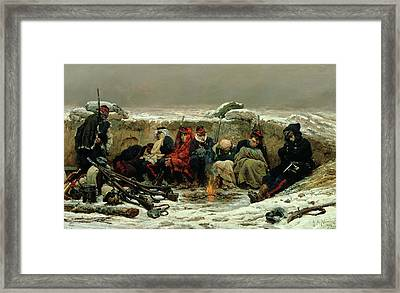 In The Trenches Framed Print by Alphonse Marie de Neuville