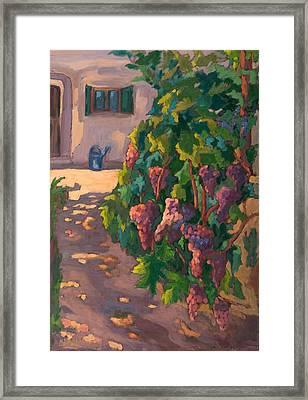 In The Vineyard, 2011 Oil On Board Framed Print by Marta Martonfi-Benke