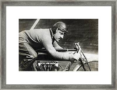In The Wind On An Indian Motorcycle - 1913 Framed Print by Daniel Hagerman