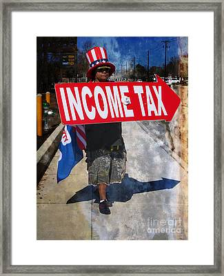 Income Tax Collector - Uncle Sam? Framed Print by Ella Kaye Dickey