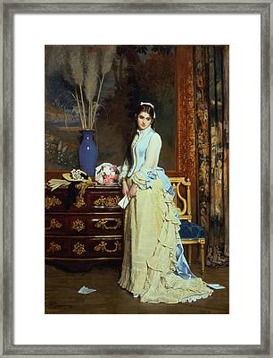 Indecision Oil On Panel Framed Print by Charles Baugniet