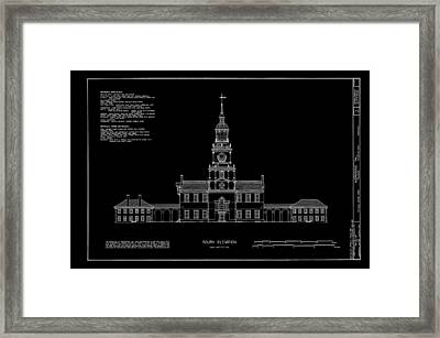 Independence Hall - South Elevation Framed Print by Daniel Hagerman