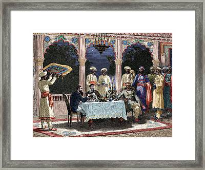India  British Colonial Era  Banquet At The Palace Of Rais In Mynere Framed Print by Hildibrand
