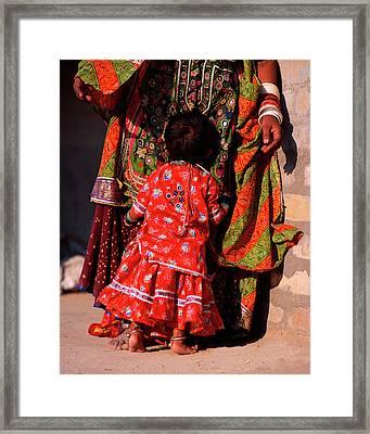 India, Gujurat Shy Child Hugs Megwar Framed Print by Jaynes Gallery