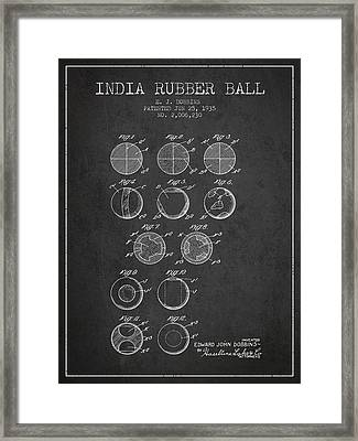 India Rubber Ball Patent From 1935 -  Charcoal Framed Print by Aged Pixel