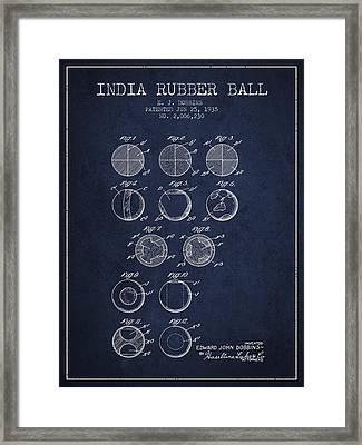 India Rubber Ball Patent From 1935 -  Navy Blue Framed Print by Aged Pixel