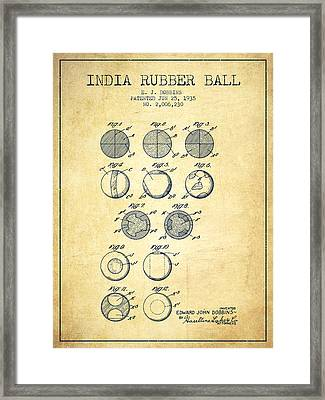 India Rubber Ball Patent From 1935 -  Vintage Framed Print by Aged Pixel