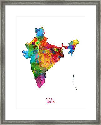 India Watercolor Map Framed Print by Michael Tompsett