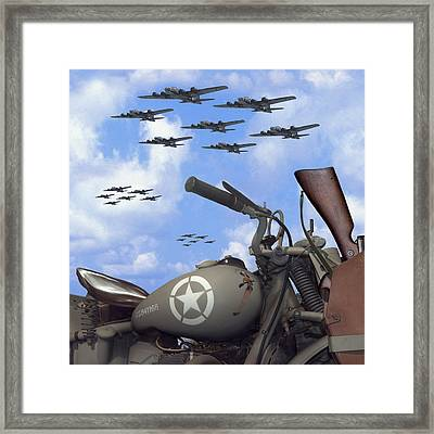Indian 841 And The B-17 Bomber Sq Framed Print by Mike McGlothlen