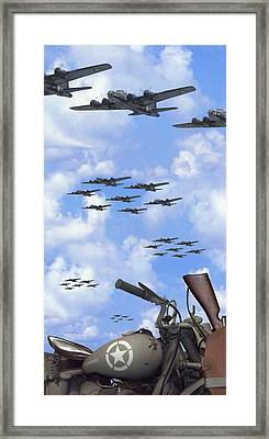 Indian 841 And The B-17 Panoramic Framed Print by Mike McGlothlen