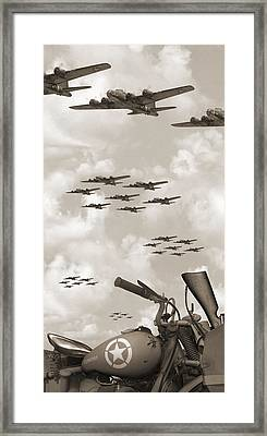 Indian 841 And The B-17 Panoramic Sepia Framed Print by Mike McGlothlen