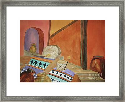 Indian Blankets Jars And Drums Framed Print by Ellen Levinson