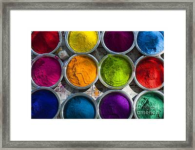 Indian Coloured Powder Bowls Framed Print by Tim Gainey