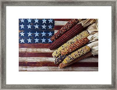Indian Corn On American Flag Framed Print by Garry Gay