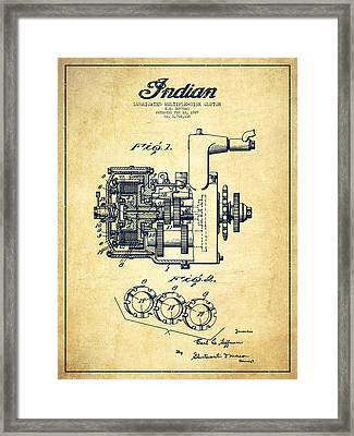 Indian Disk Clutch Patent Drawing From 1929 - Vintage Framed Print by Aged Pixel