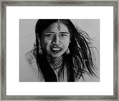 Indian Girl Framed Print by Caroline  Reid