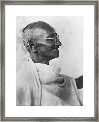 Indian Leader Mahatma Gandhi Framed Print by Underwood Archives