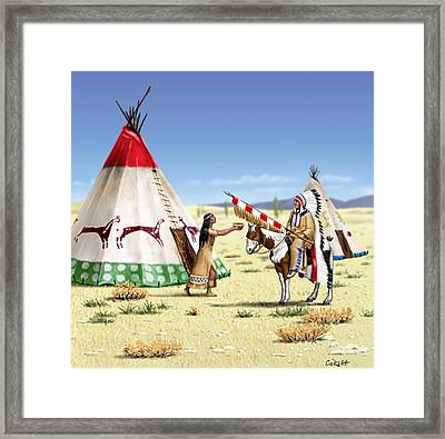 Native American Indian Maiden And Warrior Framed Print by Walt Curlee
