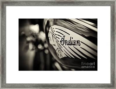 Indian Motorcycle Sepia Framed Print by Tim Gainey