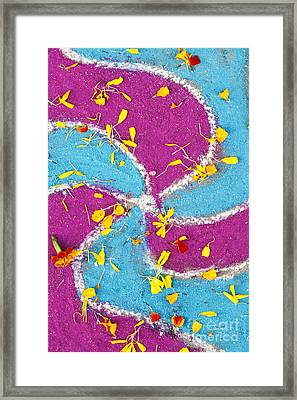 Indian Rangoli With Flower Petals Pattern Framed Print by Tim Gainey