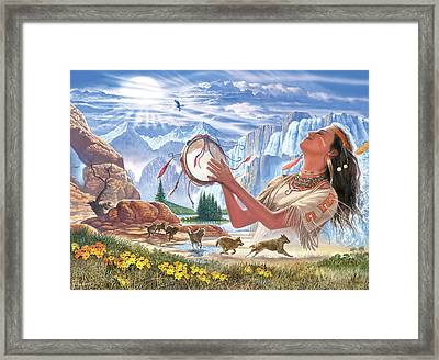 Indian Squaw And The Wolves Framed Print by Steve Crisp
