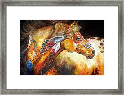 Indian War Horse Golden Sun Framed Print by Marcia Baldwin