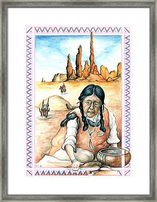 Indian Woman - Native American Art Framed Print by Art America Online Gallery
