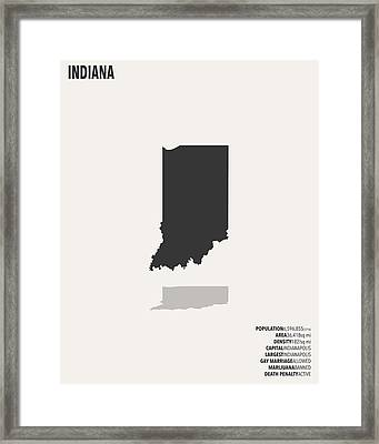 Indiana Minimalist State Map With Stats Framed Print by Finlay McNevin