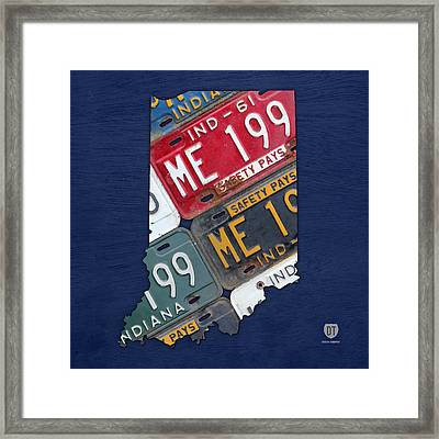 Indiana State License Plate Map Framed Print by Design Turnpike