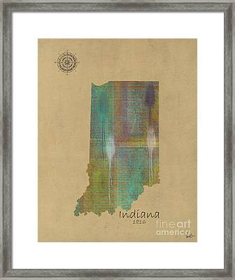 Indiana State Map  Framed Print by Bri B