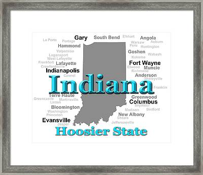 Indiana State Pride Map Silhouette  Framed Print by Keith Webber Jr